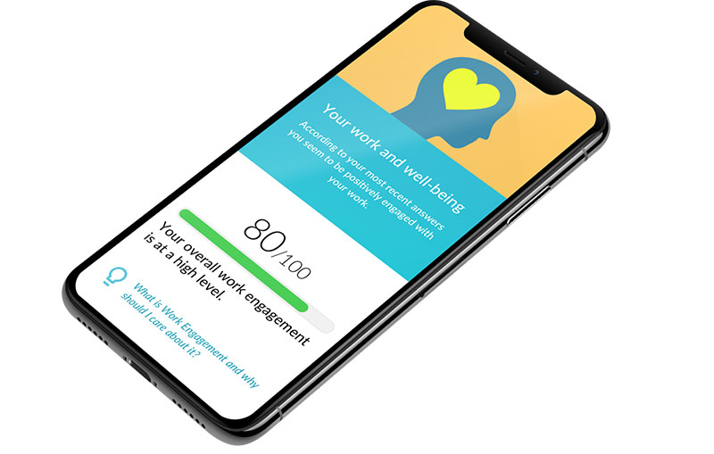 Mobile phone with a wellbeing app