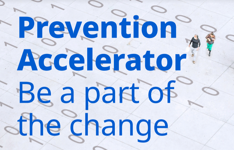 Prevention Accelerator text, background of 0s and 1s and people walking