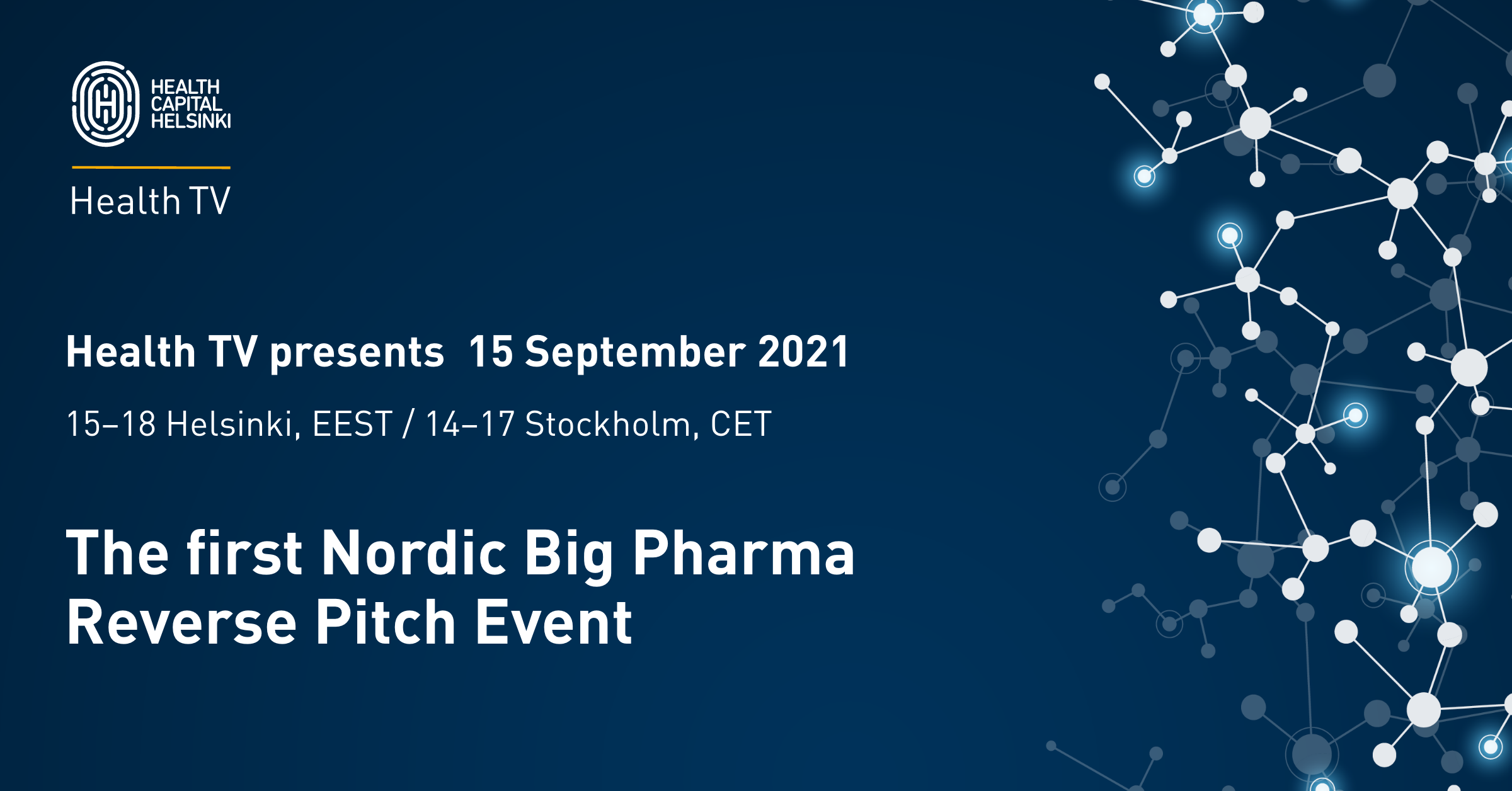 Nordic Big Pharma Reverse Pitch Event banner