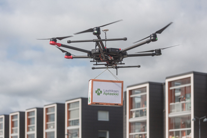 Drone delivering a pharmacy product in Helsinki